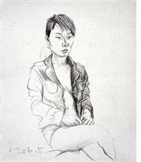 sketch of a girl no.1 by liu xiaodong