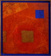 blue square in red by louis van marissing