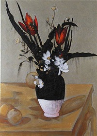 flowers in a vase; 121 years after cezanne by chatchai puipia