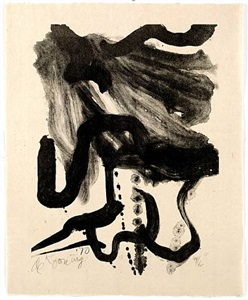 woman in corset and long hair by willem de kooning