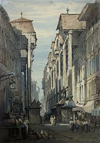 french street with the café du mont blanc by samuel prout