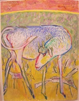 goat with birds by irving kriesberg