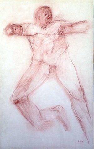 leaping man by leon golub