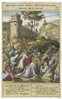 zwei szenen aus dem kreuzgang christi: christus das kreuz tragend; christus unter dem kreuz (2 works after bernadus passerus) by hieronymus wierix