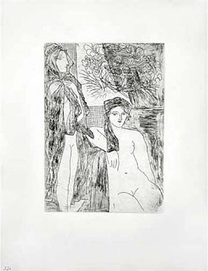 femme au voile, modèle assis et tête de rembrandt (bloch 215) by pablo picasso