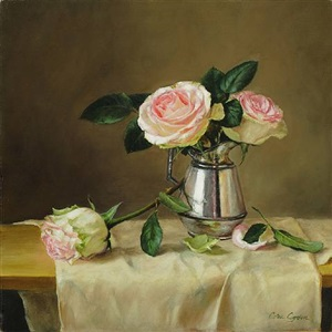 roses in a silver pitcher by cora ogden (sold)