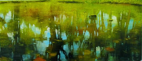 blue to warm green reflections by david allen dunlop