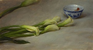 calla lilies with goldfish by grace mehan de vito (sold)