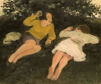 two reclining women in landscape by albert york
