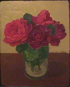 red roses in glass jar by albert york