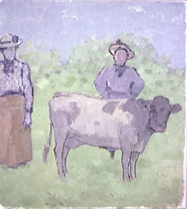 two woman and cow in landscape by albert york