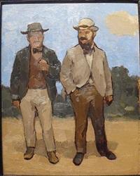 two men on moonlit road by albert york