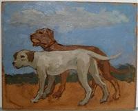 brown dog and grey dog by albert york