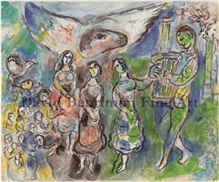 orphee jouant by marc chagall