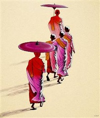 young nuns on their way to monastery by min wae aung