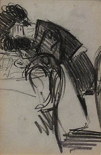 man leaning over table figure study by george benjamin luks
