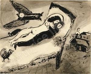 les amoureux au dessus de la ville by marc chagall
