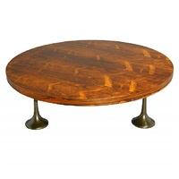 round rosewood coffee table by milo baughman