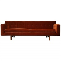 rust mohair and mahogany sofa by dunbar
