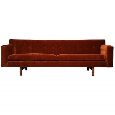 Wonderful Rust Mohair And Mahogany Sofa By Dunbar