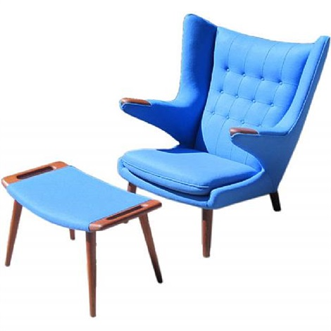 Iconic Papa Bear chair and ottoman by Hans J Wegner on artnet