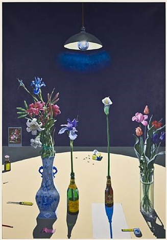 dutch still life with flowers and a box of tacks under a light by paul john wonner