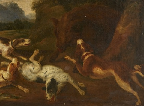 Hunting scene with wild boar and dogs by Frans Snyders on artnet