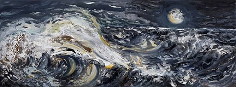 early morning wave with moon by maggi hambling