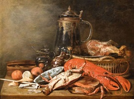 still life with crab and oyster by franz (francois) ryckhals
