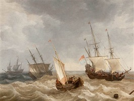 ships in choppy waters by lieve pietersz verschuier