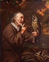 old man with an owl by carel de moor