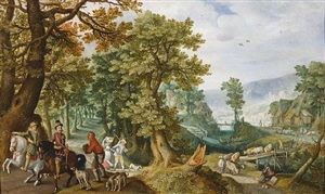 landscape with farmers and equestrians by anton mirou