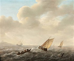 sailing ships and rowing boats off shore by jeronymus van diest