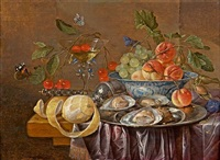still life with oysters on a silver plate, fruit and a facon de venise glass by cornelis de heem