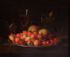 still life with a bowl of strawberries by jakob bogdani