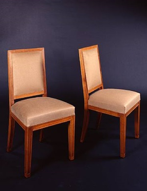 paire de chaises en poirier / pair of pear wood chairs by jean michel frank and adolphe chanaux