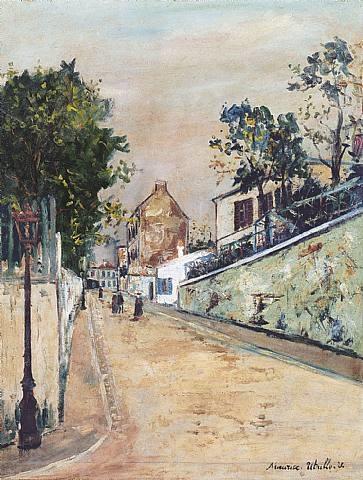 rue norvins à montmartre by maurice utrillo