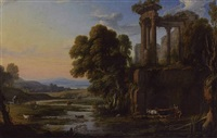 classical landscape with shepherds by pierre patel