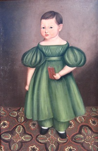 child in green dress by joseph whiting stock
