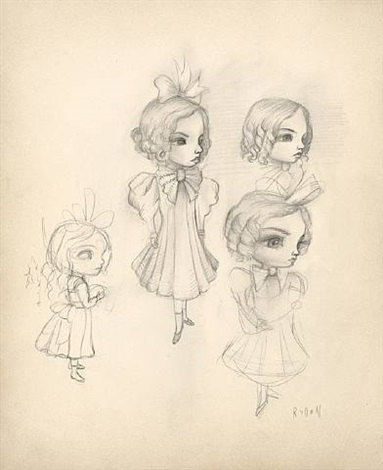 old tyme meats girl sketch by mark ryden