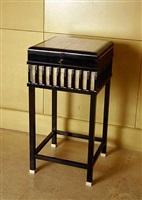 petit meuble de rangement en ébène, galuchat et ivoire by andré groult