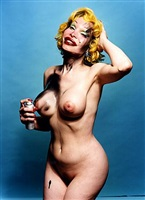 amanda lepore. full figure with spray can. by david lachapelle