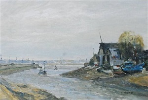 fishing boat on seine by gaston sébire