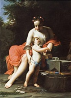 venus with cupid preparing the arrows of love by marc antonio franceschini