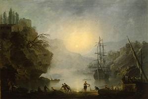 fishermen in a mediterranean port by francesco fidanza