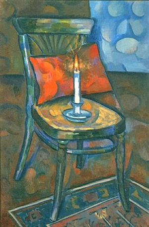 still life with chair and candle by vladimir davidovich baranoff-rossiné
