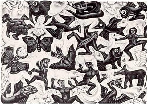 plane filling i (mosaic i) by m. c. escher