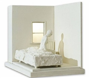 woman sitting on bed by george segal