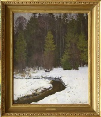 first snow. forest river by stanislav yulianovich zhukovsky