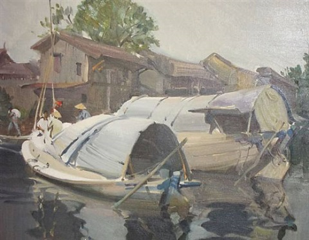 china clay barges, bangkok by terence cuneo